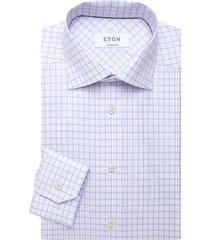 eton men's contemporary-fit check cotton-blend dress shirt - pink red - size 16