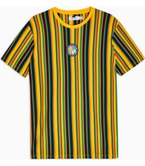 mens multi yellow, green and navy vertical stripe t-shirt
