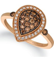 le vian chocolatier chocolate diamond (1/3 ct. t.w.) & vanilla diamond (1/6 ct. t.w.) teardrop halo statement ring in 14k rose gold