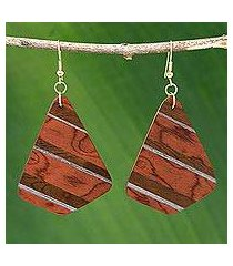 wood dangle earrings, 'woodland stripes' (brazil)