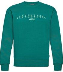 classic logo artwork felpa crewneck sweat sweat-shirt tröja grön scotch & soda