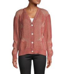 nicole miller women's plaited cotton sweater - rust - size s