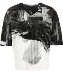 homme plissé issey miyake abstract-print ribbed t-shirt - black