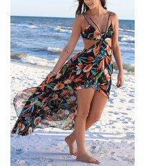 sin respaldo diseño tropical deep v cuello sin mangas vestido