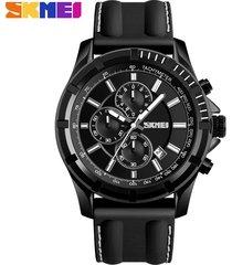 reloj de cuarzo multifuncional de moda para hombres-negro