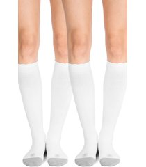 women's belly bandit 2-pack compression socks, size 1 - white