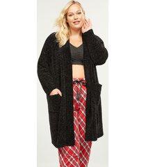 lane bryant women's chenille robe 22/24 black