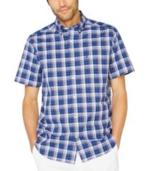 nautica men's big & tall stretch plaid short sleeve shirt