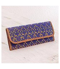 leather accent cotton wallet, 'texture and beauty' (guatemala)
