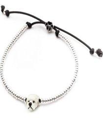 maltese head bracelet in sterling silver and enamel