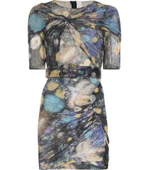 peter pilotto fireworks print ruched mini dress - purple