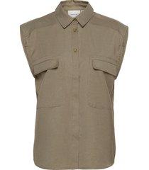 leejagz sl shirt ms21 overhemd met korte mouwen beige gestuz