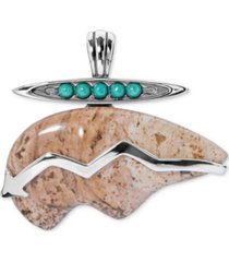 american west picture jasper & turquoise pendant enhancer in sterling silver