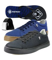 kit sapatenis casual neway sw masculino preto + azul + 1 chinelo neway + 1 cinto