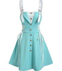buckle strap mock button lace-up twofer dress