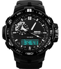 reloj deportivo impermeable dual time skmei 1081 - color negro