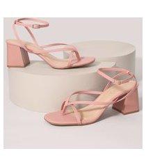 sandália feminina bico quadrado salto médio grosso oneself rosa