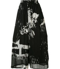 y's abstract-print chiffon wide-leg trousers - black