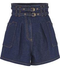 philosophy di lorenzo serafini double-belted high waist denim shorts