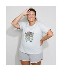 pijama feminino plus size manga curta scooby-doo azul claro