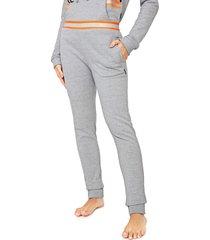 calça moletom calvin klein underwear jogger neon logo cinza/laranja