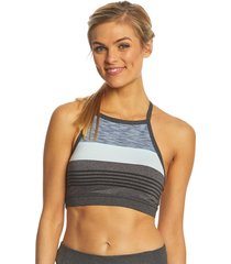 prana women's alois yoga bralette - charcoal heather stripe x-large cotton shirt