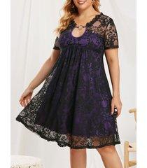 plus size keyhole o ring lace dress