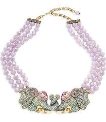 heidi daus women's goldtone, multicolor crystal & enamel beaded pendant necklace