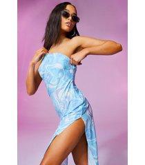 jurk met eén blote schouder, opdruk en waterval hals, lilac
