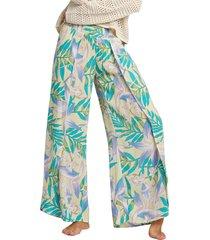 women's billabong wandering soul wide leg pants, size large - yellow