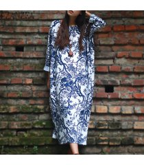 zanzea manga larga para mujer suelta estampado floral informal plus vestido largo largo kaftan (blanco) -blanco