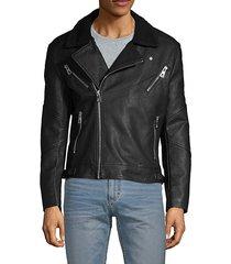 faux fur-collar full-zip moto jacket