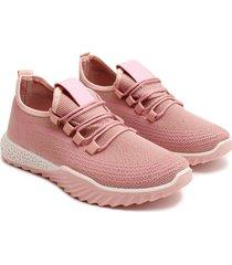 tenis rosa cordones cruzados color rosado, talla 38