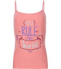 top descanso girls rule color rosado, talla l