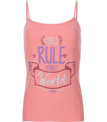 top descanso girls rule color rosado, talla l