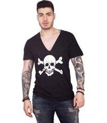 camiseta 4 ás manga curta botonê gola v caveira masculina - masculino