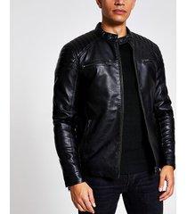 river island mens black faux leather racer jacket