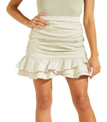 guess larison gingham-print ruffled mini skirt