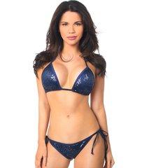 navy blue sequin pucker back bikini