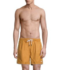 solid and striped men's the classic contrast-piping swim shorts - mustard - size xl