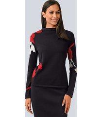 trui alba moda zwart::rood::offwhite