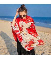 sciarpe della spiaggia delle scialli della spiaggia di stampa della gru della protezione solare delle donne che scorrono sciarpa lunga visiera respirabile