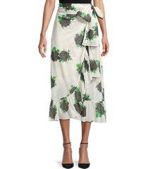 ganni women's floral wrap skirt - vanilla ice - size 40 (8)