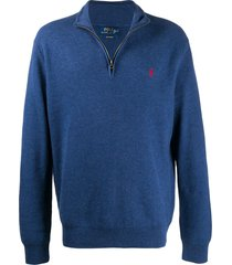 polo ralph lauren logo embroidered pullover jumper - blue