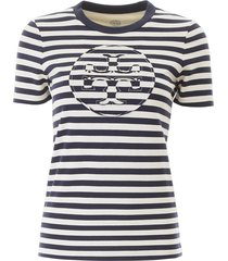 tory burch stripe logo t-shirt