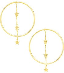 14k yellow gold hoop drop earrings