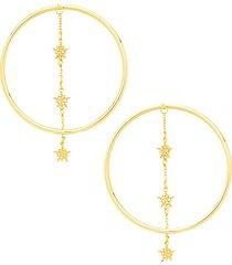 14k yellow gold hoop drop earrings