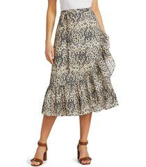 figue women's aurora ruffle trim midi skirt - lotus batik sand - size xl