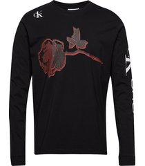 roses regular ls tee t-shirts long-sleeved svart calvin klein jeans