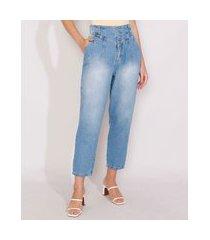 calça de jeans feminina sawary slouchy cintura super alta com pences azul médio